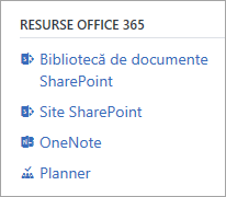 Captură de ecran afișând Office 365 resurse