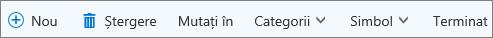 Bara de comenzi Activități pentru Outlook.com