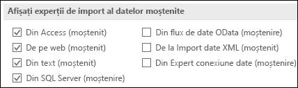 Imagine a opțiunilor obținere și transformare moștenit expertul din fișier > Opțiuni > date.