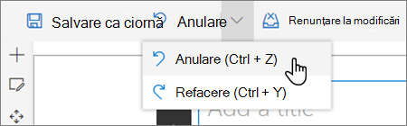 Anulare/refacere verticală afișată atunci când sunteți în modul de editare pentru un site SharePoint