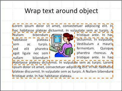 Diapozitiv cu obiect inserat, casete text afișate și text complet.