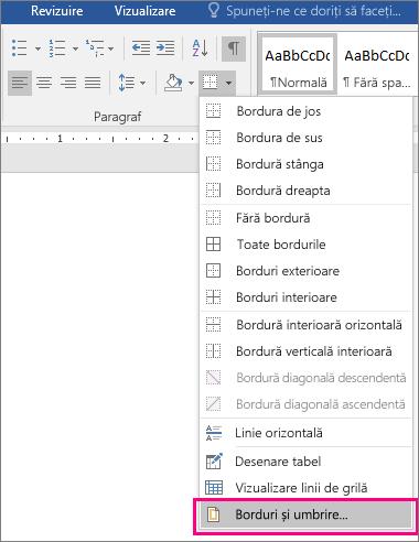 Opțiunea Borduri și umbrire este evidențiată pe fila Pornire (sub Borduri).