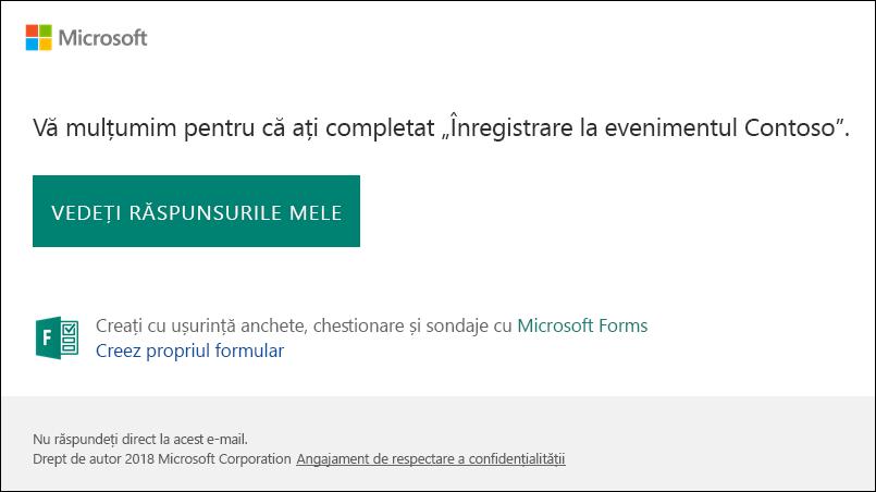 Mesajul de confirmare de e-mail și legarea la răspunsurile în Microsoft Forms