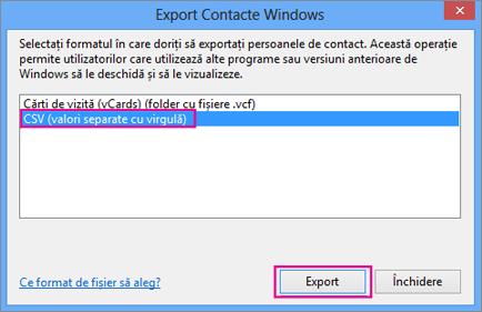 Alegeți CSV, apoi Export.
