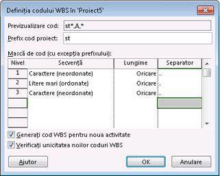 Imagine casetă de dialog Definire cod WBS