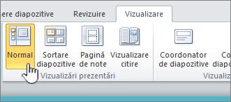 Vizualizare panglică având selectat butonul normal