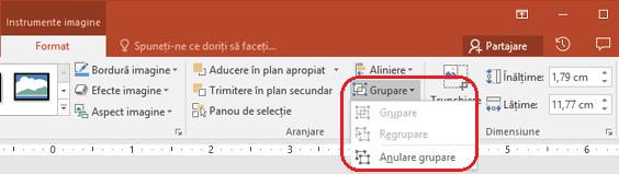 Comanda Anulare grupare pe fila Format din panglica PowerPoint, sub instrumente imagine.
