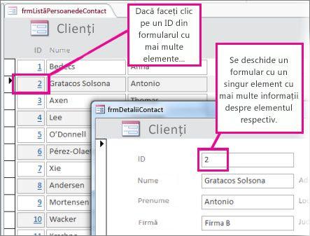 Făcând clic pe un ID într-un formular cu elemente multiple pentru a deschide un formular cu un singur element.