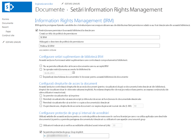 Information Rights Management setări