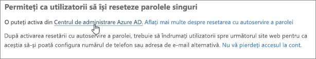 Alegeți linkul pentru a accesa Centrul de administrare Azure.
