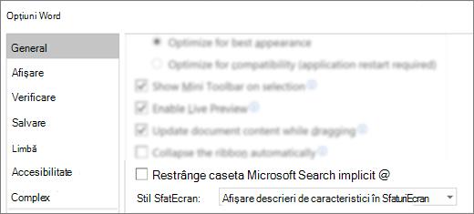 Caseta de dialog Opțiuni > fișier afișând opțiunea restrângeți caseta de căutare Microsoft în mod implicit.
