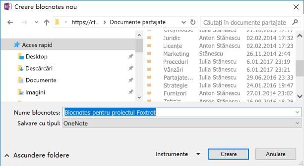 Caseta de dialog Creare blocnotes nou din OneNote pentru Windows 2016