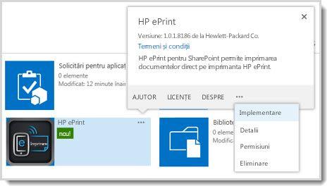Comanda Implementare este disponibilă în explicațiile despre proprietăți pentru o aplicație de pe site-ul Catalog de aplicații.