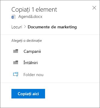 Captură de ecran a alegeți o locație de la copierea unui fișier la SharePoint