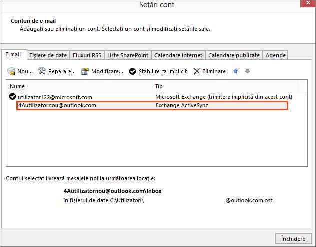 Setări de cont Outlook, Conturi de e-mail