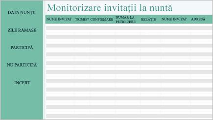 Imagine conceptuală a unei foi de calcul de monitorizare a nunții