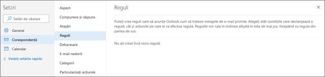 Captură de ecran afișează pagina reguli în Mail în setările pentru Outlook.com.