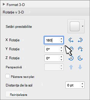 secțiune rotire 3D cu rotație X selectată