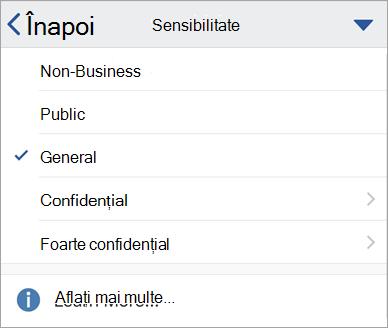 Captură de ecran cu etichetele de sensibilitate în Office pentru iOS