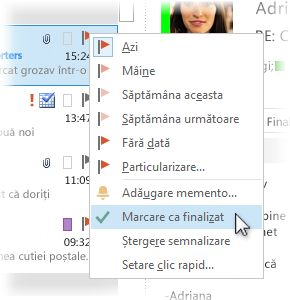 Comanda Marcare ca finalizat din meniul cu clic cu butonul din dreapta în lista de mesaje