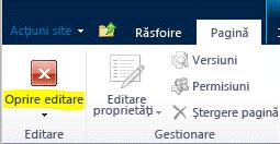 Butonul Oprire editare pe fila Pagină