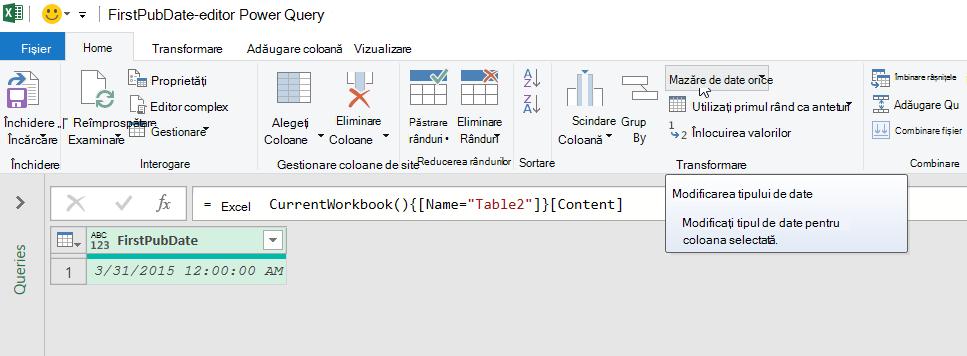 Mouse-ul peste comanda tip de date din grupul transformare din fila pornire din panglica Editor Power Query.