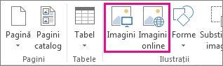 Captură de ecran a opțiunilor Inserare imagini din meniul Inserare din Publisher.