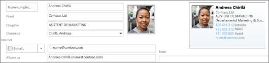 Puteți să adăugați sau modificați o imagine pentru o persoană de contact.