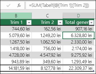 Exemplu de formulă care are completarea automată pentru a crea o coloană calculată într-un tabel