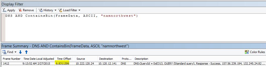 """Rezultatele Netmon suplimentare, filtrate cu DNS și CONTAINSBIN (Framedata, ASCII, """"namnorthwest""""), care arată un decalaj de timp foarte scăzut între solicitare și răspuns."""