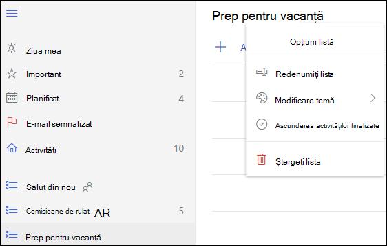 Mai multe opțiuni pentru listă