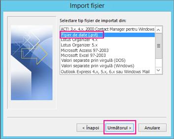Alegeți Import .pst