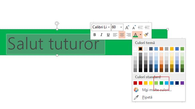 Selectați textul pe care doriți să îl ascundeți și faceți clic pe culoarea de fundal în selectorul Culoare font.