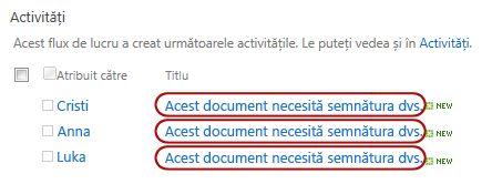 Identificarea textului în titlul activității pe pagina Stare flux de lucru