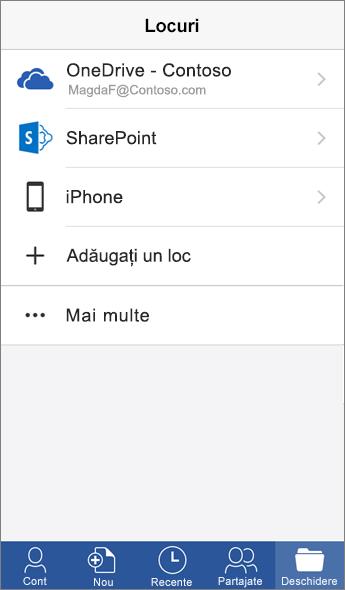 Captură de ecran cu Locuri în aplicația Word Mobile.