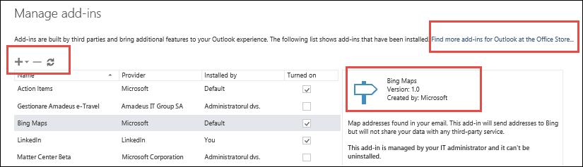 Gestionarea programelor de completare în Outlook