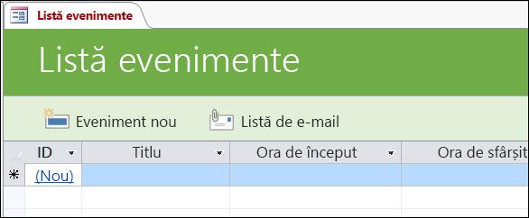 Formularul Listă de evenimente din șablonul de bază de date Evenimente Access