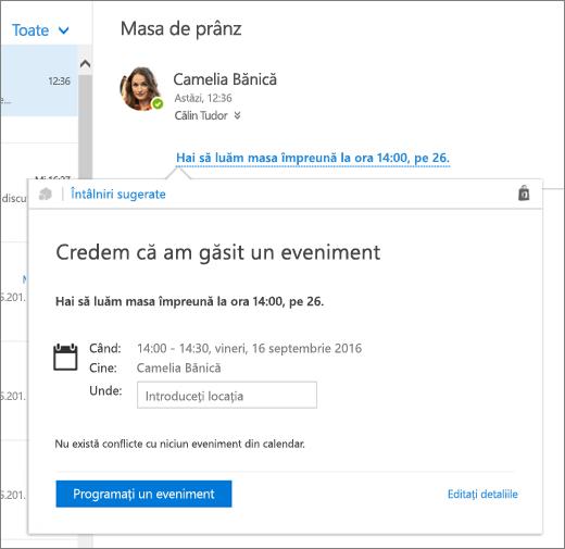 Captură de ecran a unui mesaj de e-mail cu text despre o întâlnire și fișa Întâlniri sugerate cu detaliile întâlnirii și opțiuni pentru a planifica evenimentul și a edita detaliile acestuia.