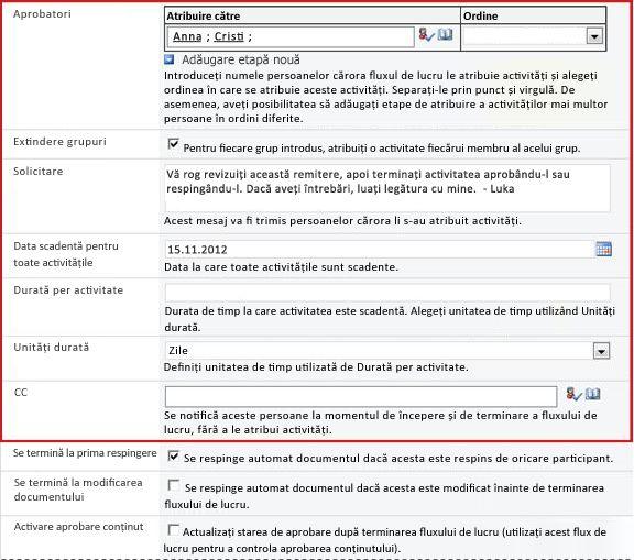 Formular pentru introducerea informațiilor despre rulare