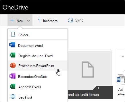 Crearea de fișiere în OneDrive pentru business