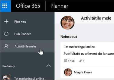 Faceți clic pe activitățile mele pentru a vedea doar activitățile într-un plan