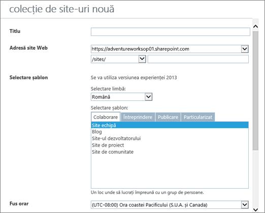 Caseta de dialog Colecție de site-uri nouă (jumătatea de sus)