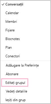 Meniul contextual sau de comenzi rapide al grupului de calendare evidențiind opțiunea Editați grupul. Meniul apare atunci când se selectează butonul Mai multe acțiuni pe bara de meniuri a grupului individual.