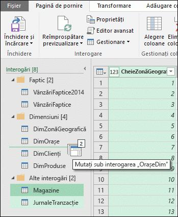 Power Query - Reordonarea interogărilor și grupurilor de interogări în Editorul de interogare prin gesturi de glisare și fixare