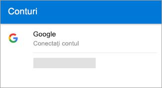 Outlook pentru Android vă poate găsi automat contul de Gmail.