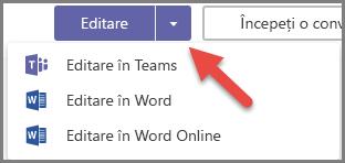 Butonul Editare cu opțiunile extinse și o săgeată indicând spre butonul vertical