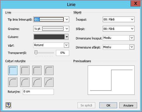 Caseta de formatare linie