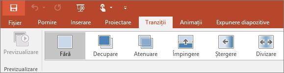 Afișează fila Tranziții pe panglica din PowerPoint