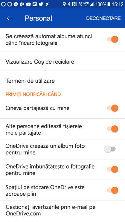 Salt la setările OneDrive pentru Android pentru a seta setările de notificare.