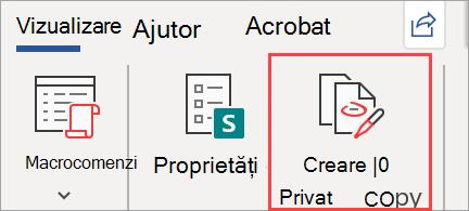 Afișează butonul Creare copie privată într-un document